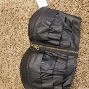 Leather front zip bandeau